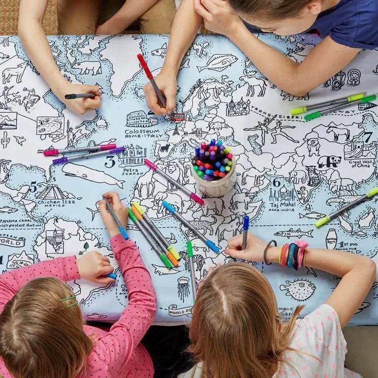 MAPTS world map tablecloth lifestyle 2