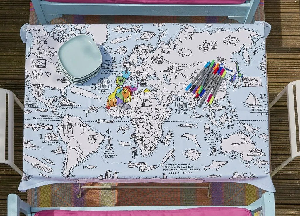 MAPTS world map tablecloth lifestyle 6