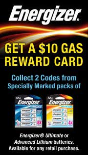 Energizer Lithium $10 Gas Reward Card