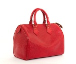 $1200 Retail Louis Vuitton Red Epi Speedy 25 Purse Bag from Bella Bag