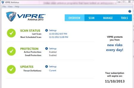 VIPRE Antivirus Dashboard
