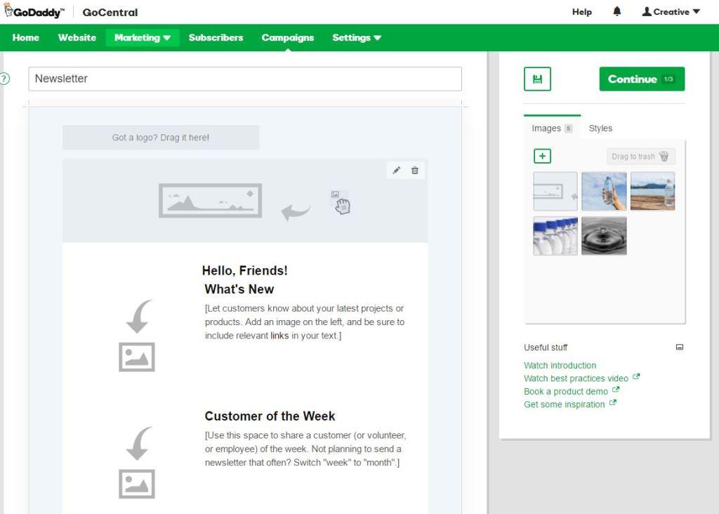 GoDaddy GoCentral Website Builder - Create a Website in Minutes - Email Marketing