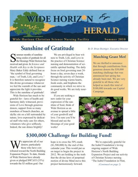 Wide Horizon Summer Newsletter 2010