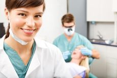 hygienist in foreground