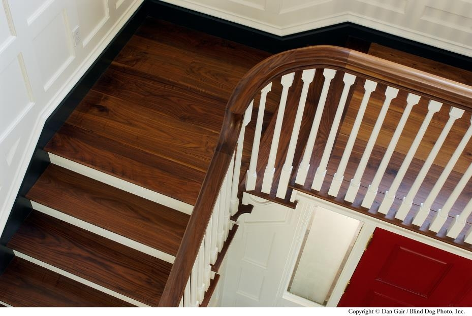Building A Custom Home Stair Design Considerations | Wood Floor Stair Treads | Brazilian Cherry | Stair Nosing | Oak Stair Risers | Vinyl Flooring | Carpet