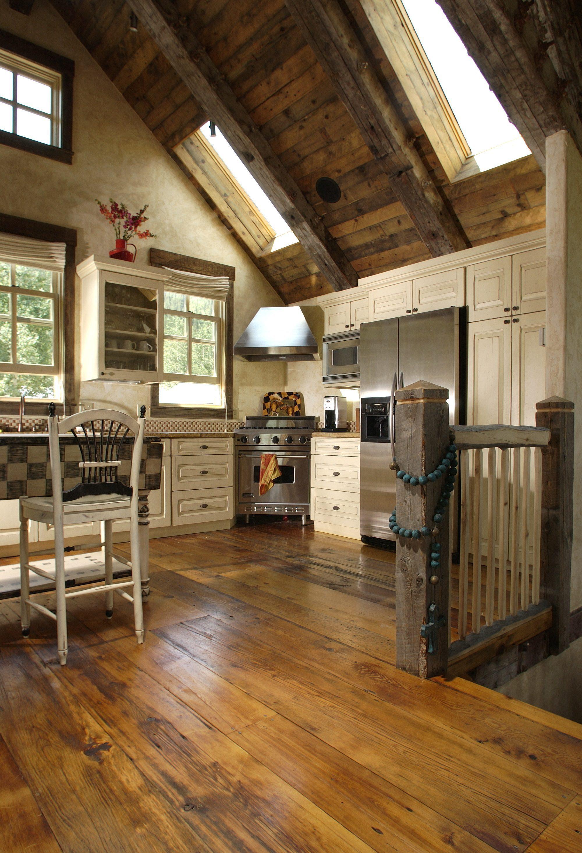 Reclaimed Barnwood Flooring in Colorado Kitchen | Carlisle ... on Farmhouse:-Xjylc6A2Ec= Rustic Kitchen  id=57350