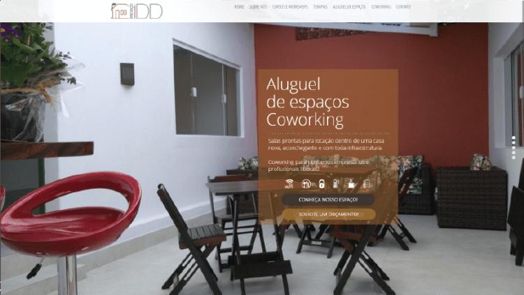 Criação de web site para o espaço de coworking espaço IDD - Widesigner criação de site