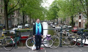 Typical street scene, Amsterdam...with Mizz J. Note the ubiquitous bikes.