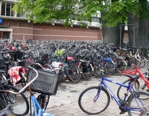 How do you find your own bike in a pile like this? Outside of train station, Haarlem (and many more bikes behind me)
