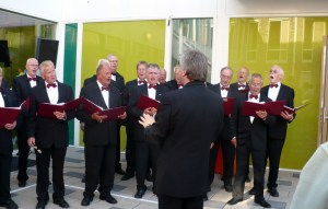 Oom Nan, far right, singing with the Zandvoort Mannen Choir