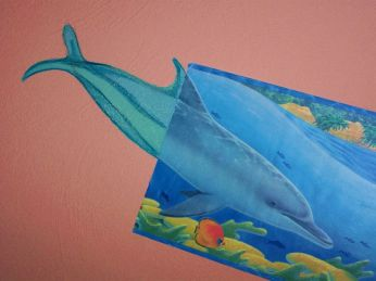 Wandmalerei Delphin Borte ergänzt
