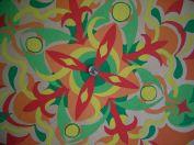Wandmalerei Mandala rot-grün 1