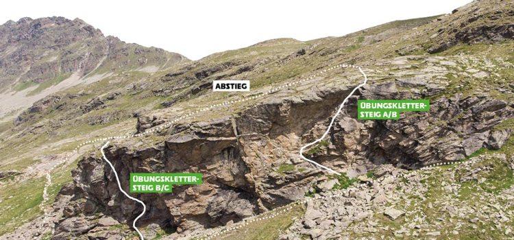 Das Bild zeigt einen Ausschnitt des Topo Wiesbadener Hütte. Man sieht eine Grafik mit Felsen und eingezeichneten Kletterrouten.