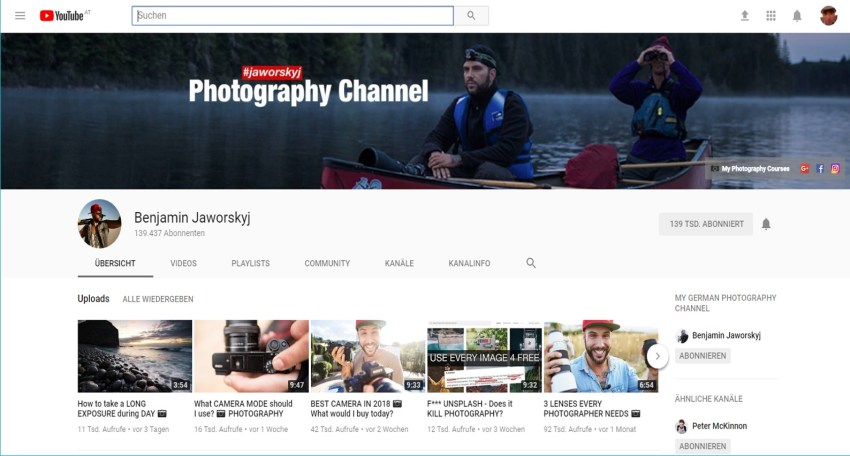 Youtube-Channel Benjamin Jaworskyj