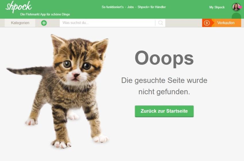 Shpock 404 Seite