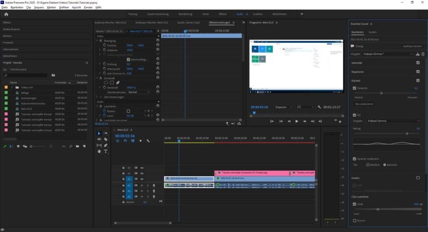 Audio Arbeitsbereich in Adobe Premiere