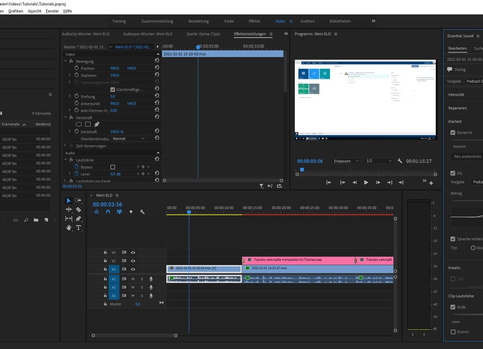 Audio Arbeitsbereich in Adobe Premiere
