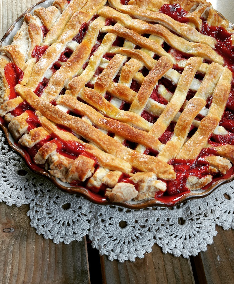 Homemade Strawberry Rhubarb Pie from scratch. Unique ingredients for superb flavor!