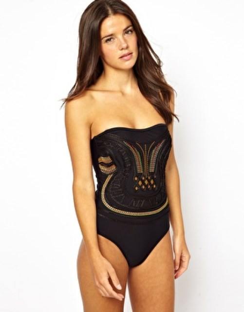 Image 1 of ASOS Embellished Front Bandeau Swimsuit