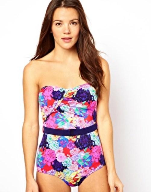 Image 1 ofASOS Penelope Floral Belted Bandeau Swimsuit