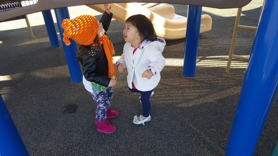 Hailey plaing with friend at the park