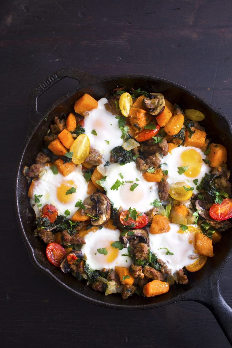 Sausage, Sweet Potato, & Kale Breakfast Skillet   Grain & Gluten Free