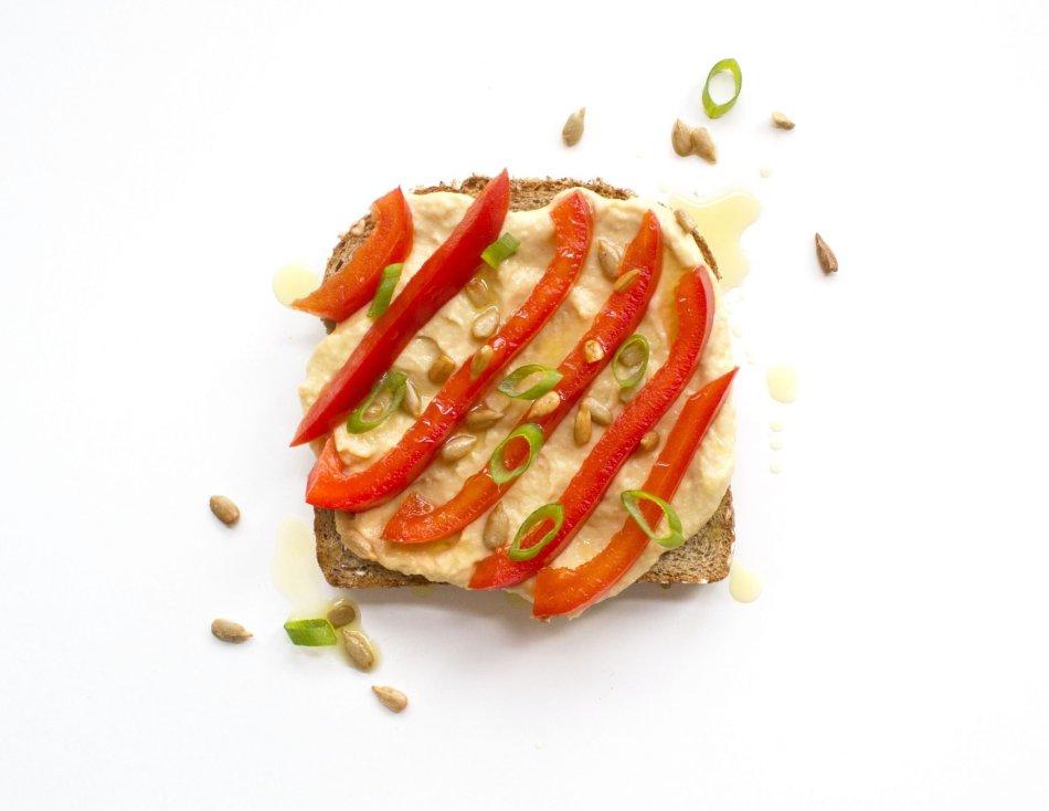 Ten Tasty Toast Ideas | Red Pepper & Hummus