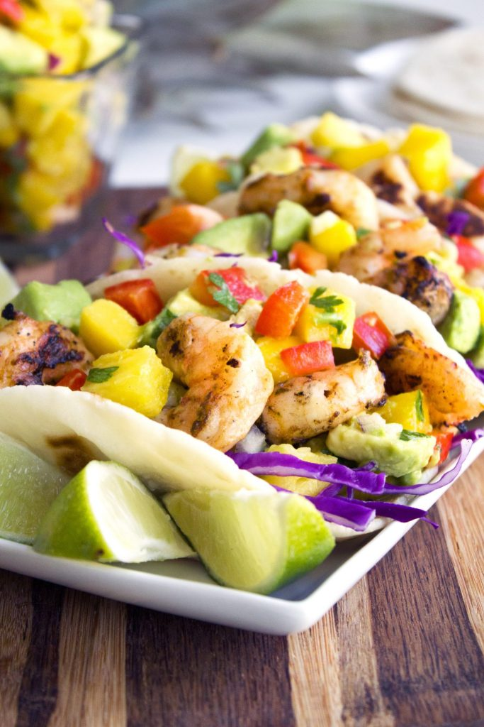 Coconut Lime Grilled Shrimp Tacos With Tropical Fruit Salsa