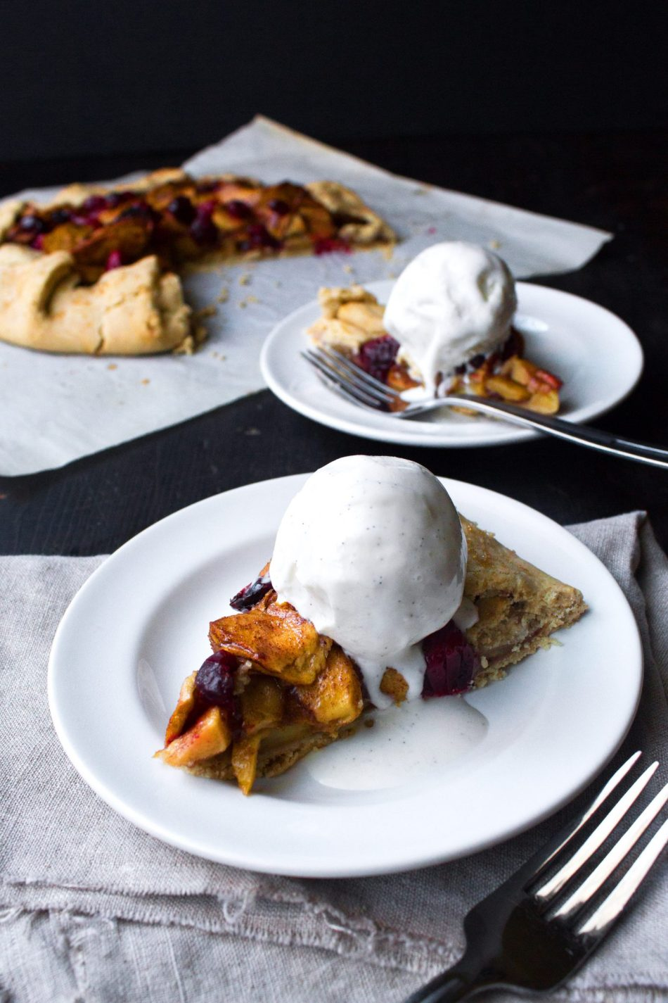 Apple-Cranberry Galette | GF & Refined Sugar Free. Can also use ready made pie crust for a quick and impressive dessert!