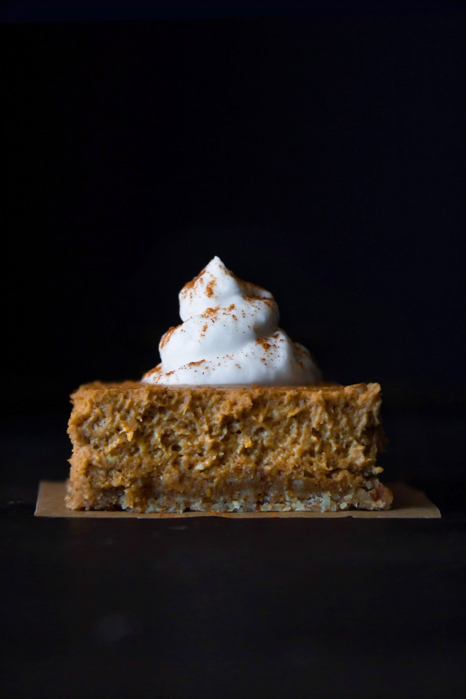 Pumpkin Cheesecake Bars With An Oatmeal Crust | Free of gluten and refined sugar.