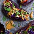 Thai-Stuffed-Purple-Potatoes-bake-potatoes-and-sauce