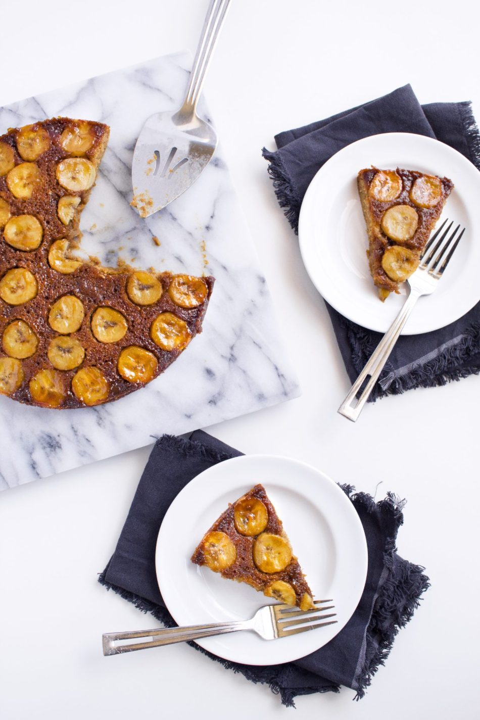 Salted Caramel Banana Upside Down Cake | Gluten, dairy, and refined sugar free.