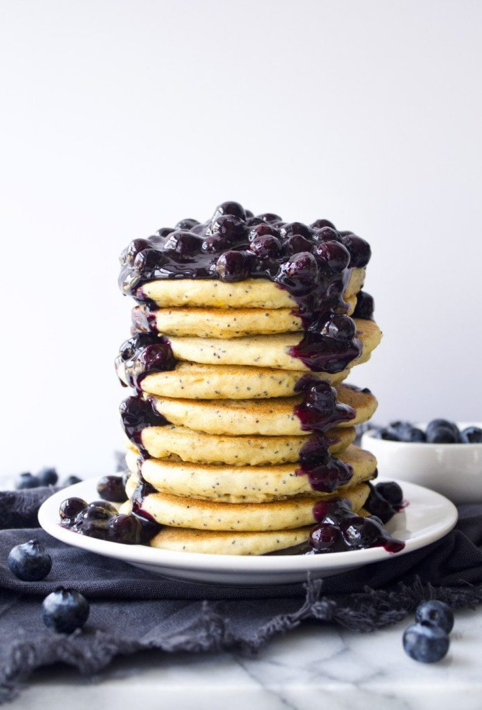 Lemon Poppy Seed Pancakes With Blueberry Sauce | Free of gluten, dairy, and refined sugar.