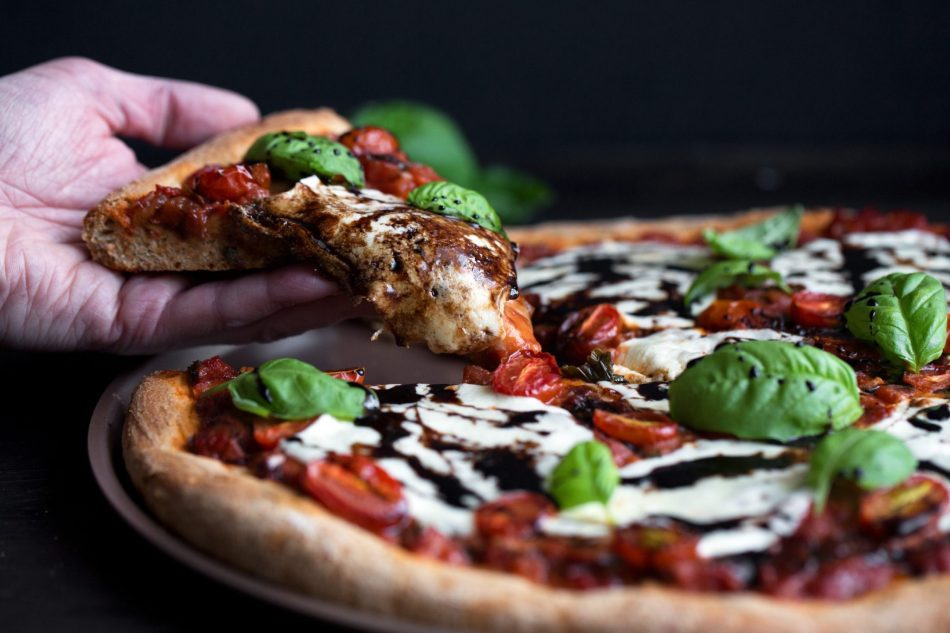 Homemade Caprese Pizza | Includes the recipe for a homemade sauce and balsamic glaze.