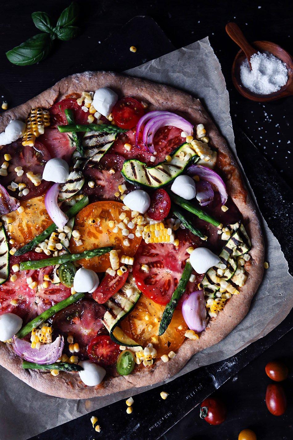 Grilled Summer Veggie Spelt Pizza
