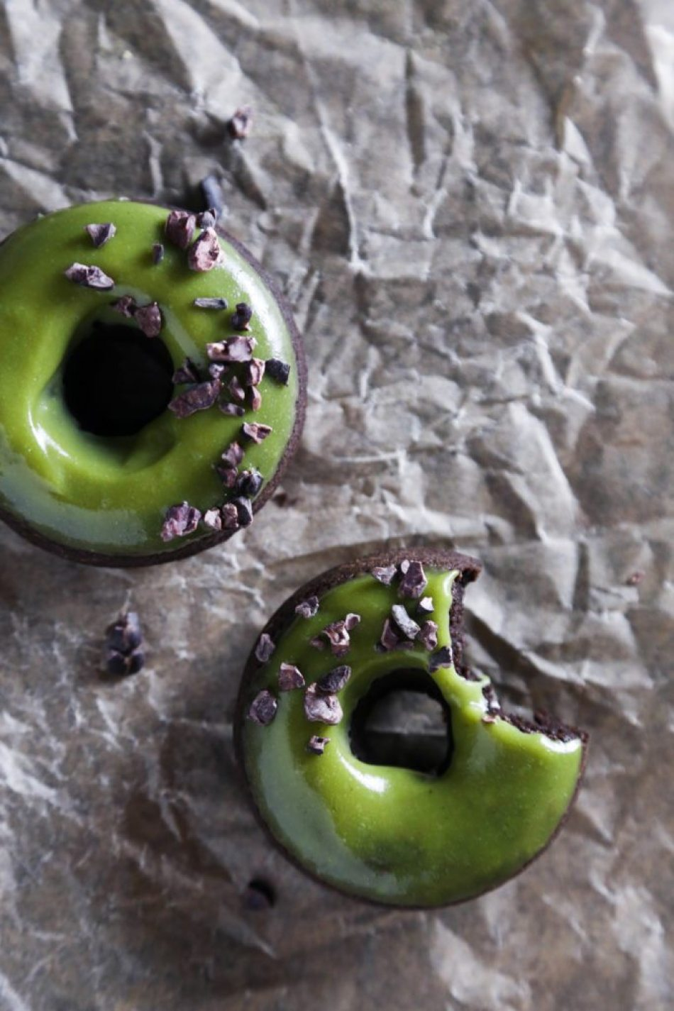 Baked Chocolate Doughnuts with Matcha Glaze | Free of dairy, gluten, and refined sugar!
