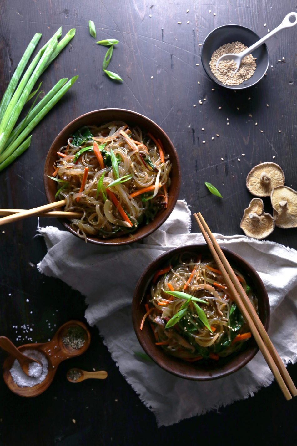Stir-Fried Sweet Potato Noodles & Vegetables (Japchae) | Gluten, grain, and dairy free.