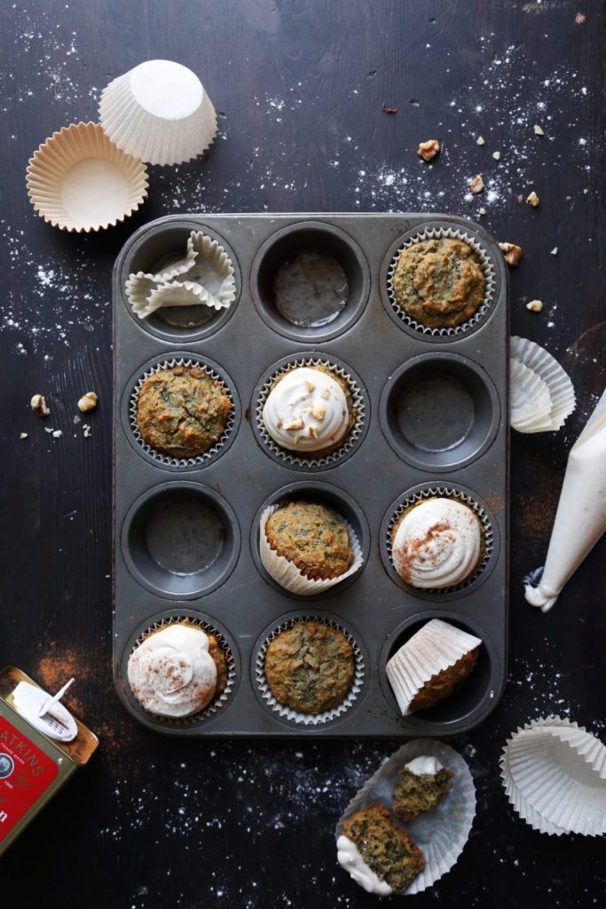 rainbow carrot cake muffins in the pan
