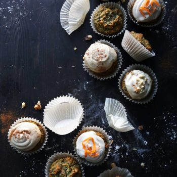 rainbow carrot cake muffins on the table