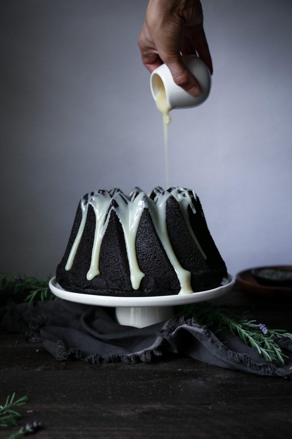 Chocolate Earl Grey Cake Lavender Ganache