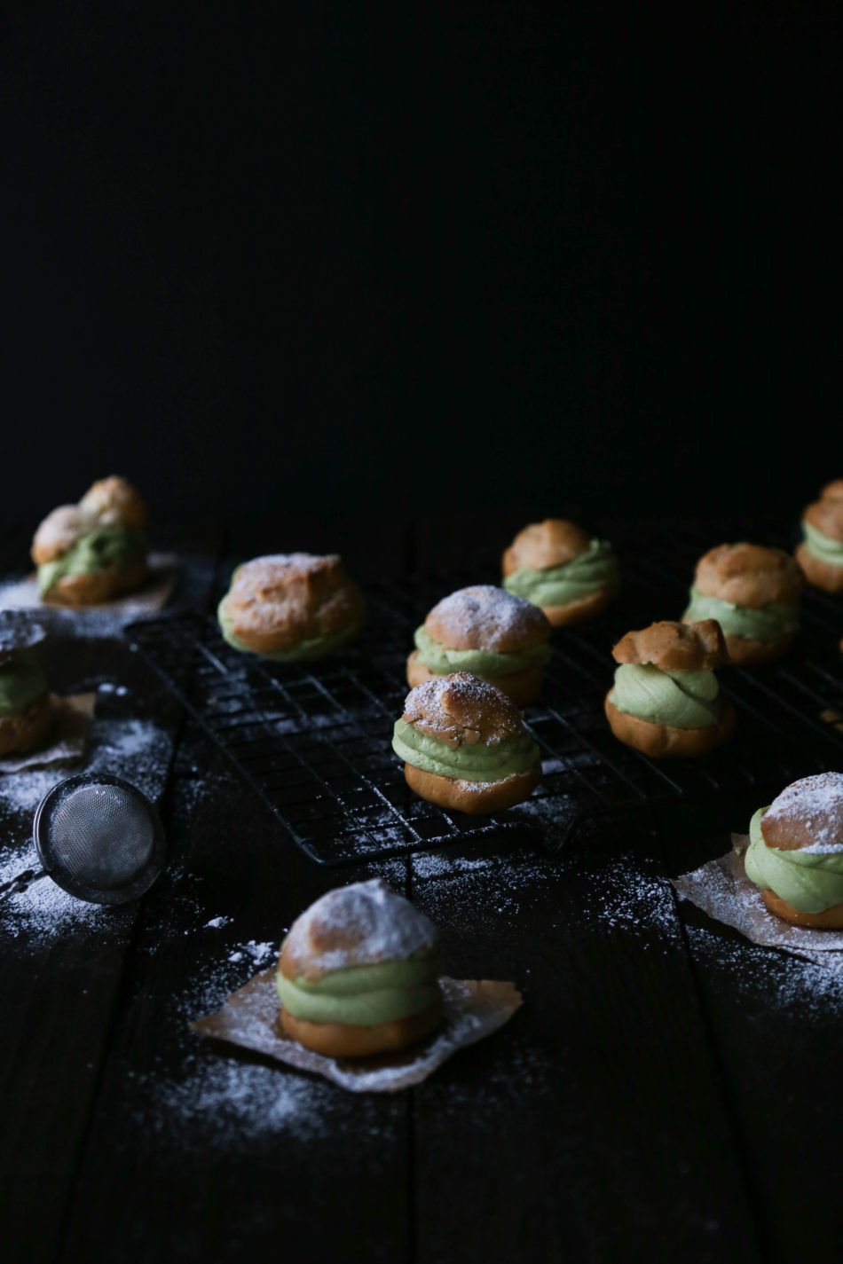 Cream Puffs with Matcha Coconut Cream | Gluten and dairy free variation included.