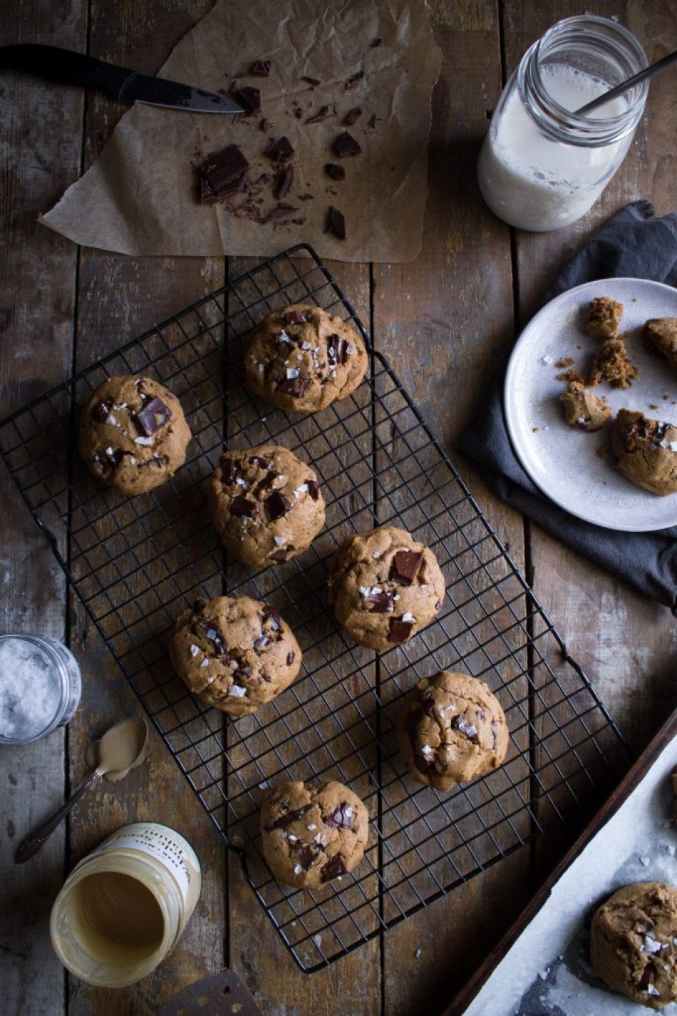 Salted Tahini Chocolate Chip Cookies | Gluten and refined sugar free!
