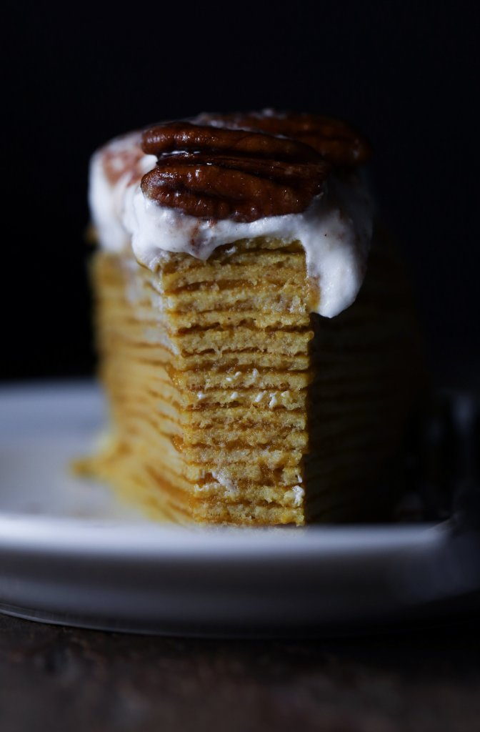 Pumpkin Crepe Cake with Pumpkin Butter and Maple Candied Pecans | Free of gluten, dairy, and refined sugar.