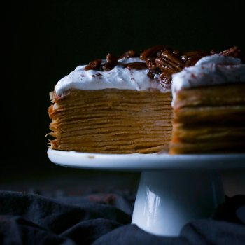 Pumpkin Crepe Cake with Spiced Coconut Cream and Maple Candied Pecans
