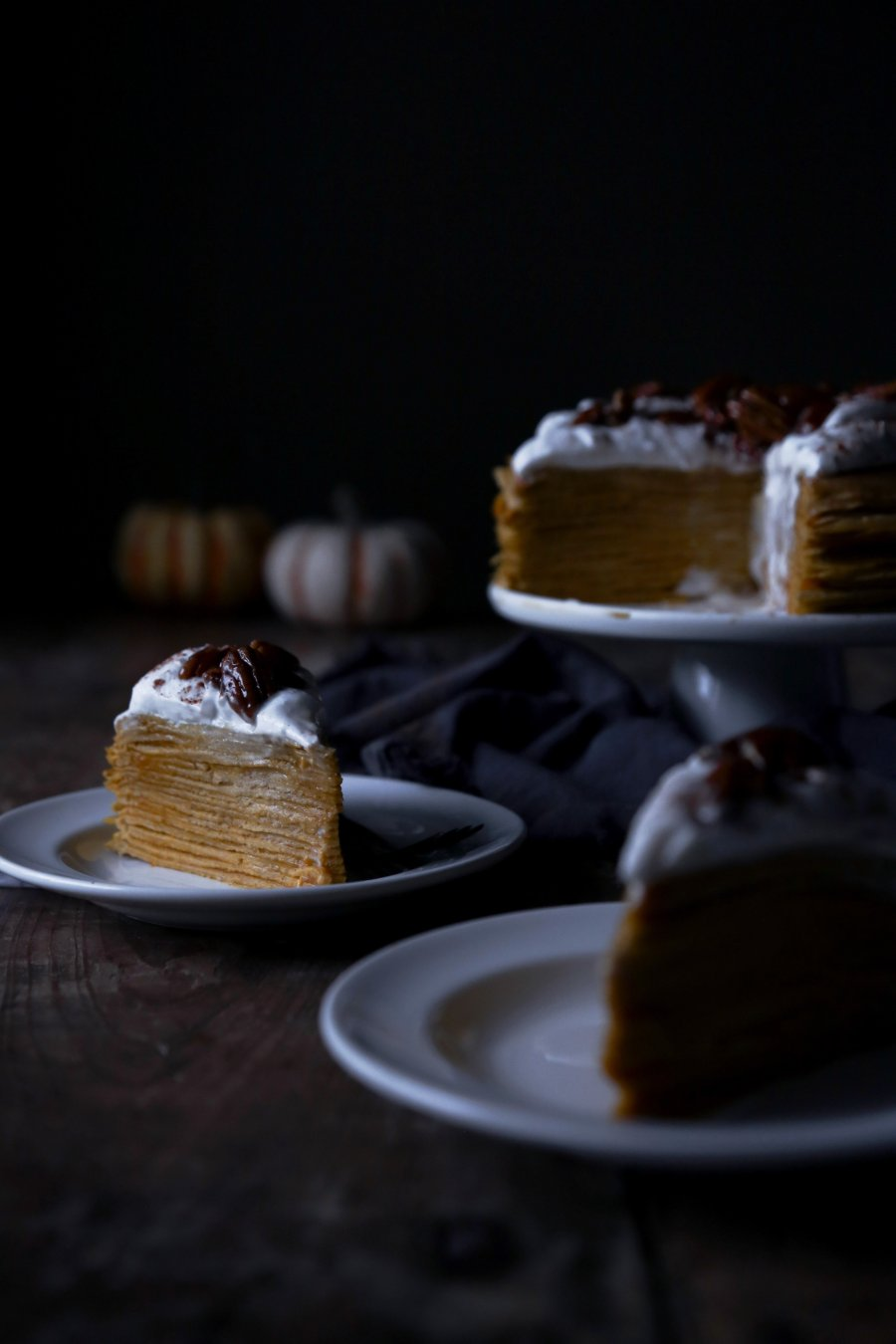 Pumpkin Crepe Cake with Spiced Coconut Cream and Maple Candied Pecans | Free of gluten, dairy, and refined sugar.