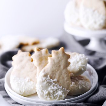 Macadamia Nut Shortbread Cookies Dipped in White Chocolate