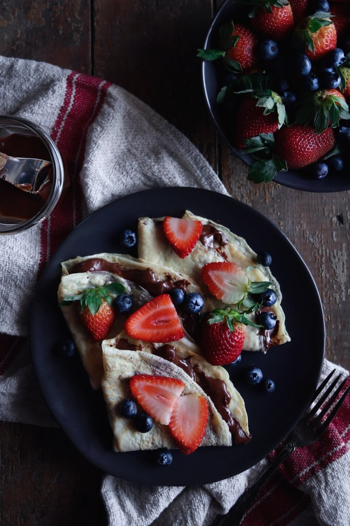 Easy Crepes | Free of dairy and refined sugar. Gluten-free variation included.