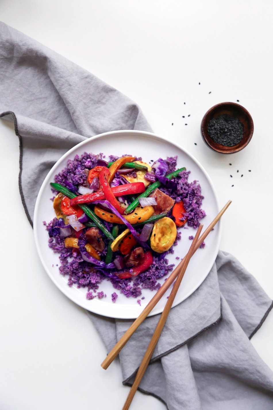 Teriyaki Stir-Fry with Cauliflower Rice | Whole30/paleo friendly. Can easily be made vegan/vegetarian.