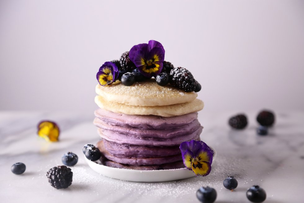 Ombré Berry Pancakes | Free of dairy and refined sugar with a gluten-free variation. Vegan friendly.