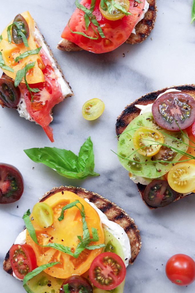 Grilled Toast with Heirloom Tomatoes & Chive Cream Cheese | Can easily be made gluten and dairy free.
